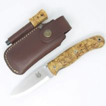 TBS Boar Folding Lock Knife - Curly Birch - Firesteel Belt Pouch